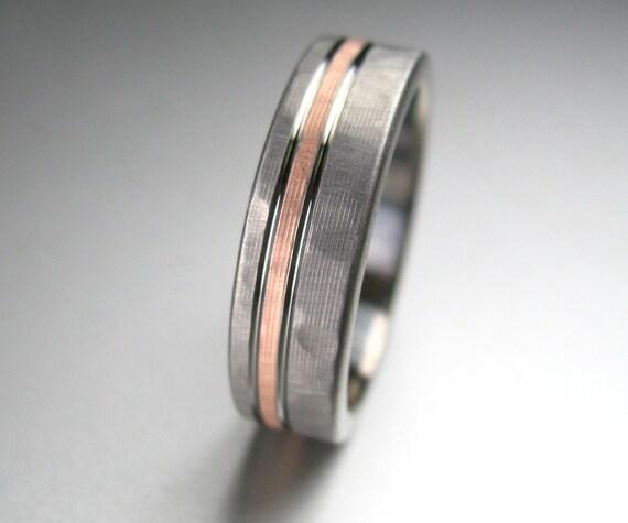 Men S Wedding Band Titanium Rose Gold Hammered Comfort Etsy