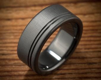 Men's Wedding Band Comfort Fit Interior Black Zirconium Ring