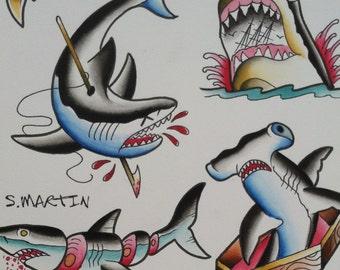 Shark week traditional tattoo flash