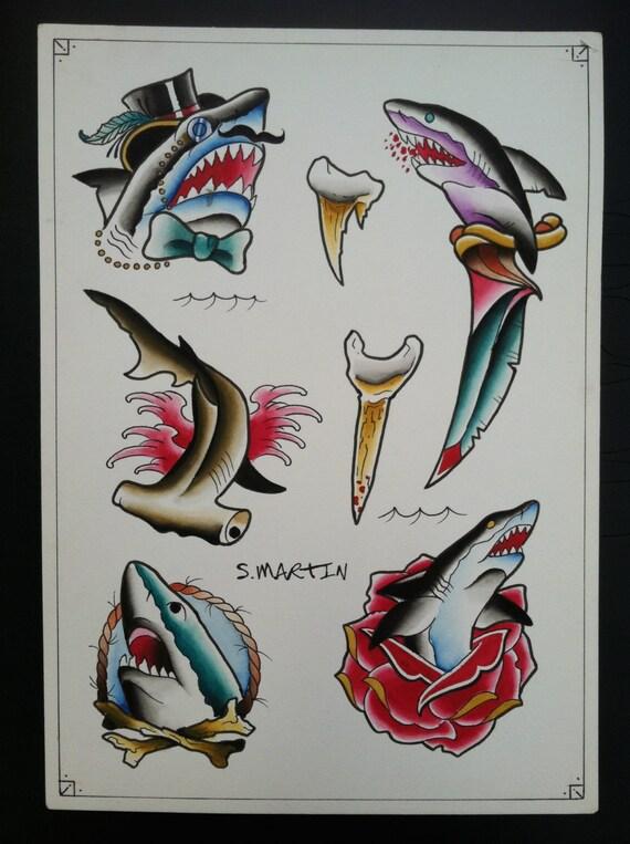 Shark Tattoo Flash Sheet