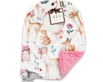Forest Animals on Aqua Soft /& Durable Baby-to-Toddler Adjustable Snap Bib { Woodland Meadows } Grows with Baby into a Toddler