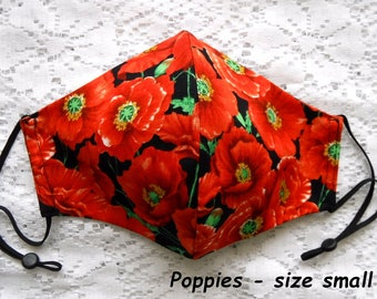 Red poppies on black cotton face mask black cotton face mask adults small face mask reversible face mask red black fitted face mask Ontario