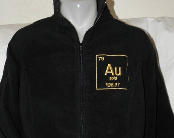 ladies large gold jacket embroidered au periodic table adult size black fleece ready to ship - Au Pendant Periodic Table