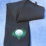 Large GOLF Towel Embroidered with Golf Design / Black Odor Fighting Golf Towel / Black Golf Towel / Ready to Ship