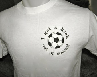 Soccer Embroidered Tshirt Adult S, M or XL T-shirt Soccer Football White T Cotton Tagless Ready to Ship