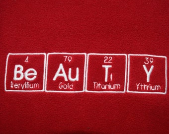 BeAuTY Chemistry Scarf Science Geek Periodic Table BeAuTiY In Red and White - Ready to Ship