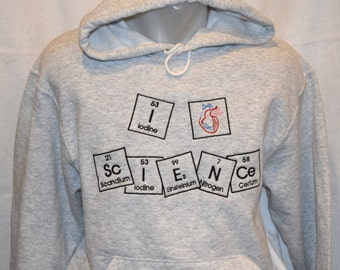 "Ready to Ship Hoodie Adult Medium I ""heart"" ScIENCe in Periodic Table Embroidered Hooded Sweatshirt Chemistry Adult Med Unisex"