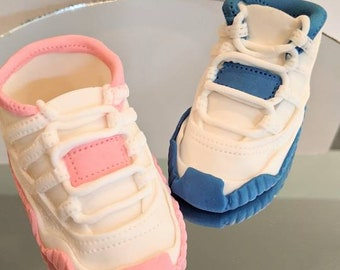 Ready to Ship! Gender Reveal Fondant Baby Shoe Cake Topper