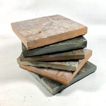 NATURAL SLATE COASTERS - 6 Assorted Colors - Handmade Stone Coaster Set Heavy, Naturally Absorbent, Work Great, Do Not Stick, Drink Coasters