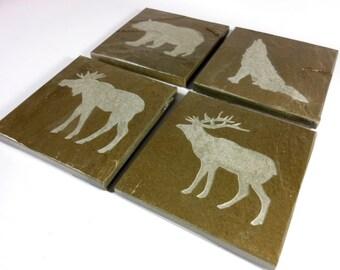 Woodland Animals Coasters: Bear, Deer, Wolf, Moose - 4 Hand Carved Slate Stone Drink Beverage Coaster Set Elk Lodge Cabin Rustic Decor Gift