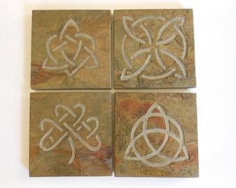 Celtic Knot Coasters Set -Sturdy Slate Stone, 4 Assorted Celtic Knots, High Quality Drink Coasters, Irish Celtic Norse Viking Decor