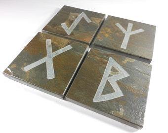 Personalized Coasters - 4 Runes Your Choice Elder Futhark - Carved Natural Slate Stone Set - Scandinavian Viking Norse Asatru Decor Art