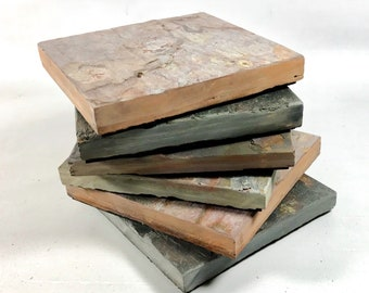 6 Natural Slate Coasters - Assorted Colors - Six Handmade Stone Coaster Set for Drinks, Heavy, Absorbent, Work Great, Do Not Stick