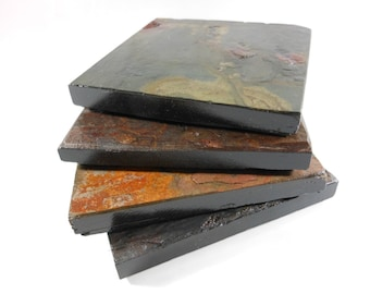 4 Slate Coasters: HAPPY ACCIDENT SET - Assorted Colors with Black Edges & Varnished to Enhance Natural Colors, Handmade Stone Drink Coasters