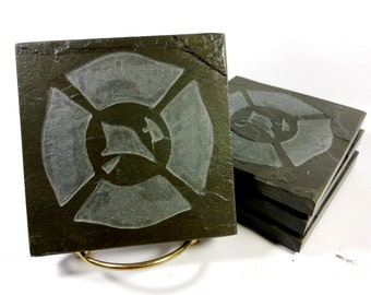 Fireman Coasters - Stone Coasters, Carved Slate Tiles, Maltese Cross Coasters, Gifts for Firefighter, Fireman, First Responder