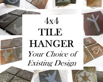Custom TILE HANGER Wall Decor - Hung Horizontally  - Choose From Any Existing Design - Personalized Natural Slate Stone Carving