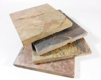 4 Natural Slate Coasters- Assorted Colors - Handmade Stone Coaster Set for Drinks, Heavy, Absorbent, Work Great, Do Not Stick