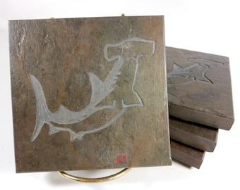 Hammerhead Shark Coaster Set - 4 Etched Slate Coasters, Carved Stone Beverage Coasters, Beach, Nautical Decor Shark Lover Gift