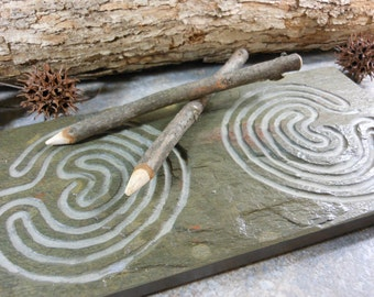 DOUBLE LABYRINTH STONE - Carved Troy Pathway (Single Path on Each Side) - Finger Maze Meditational Tile - Carved Natural Slate Stone Zen
