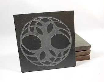 As Above So Below COASTER SET - Carved Natural Slate Stone - Tree of Life Beverage Drink Coasters - More Designs Available