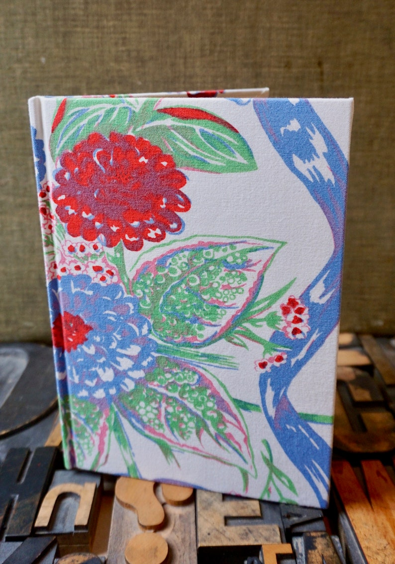 Recipe Journal Made from a 1950s Floral Vintage Tablecloth image 0