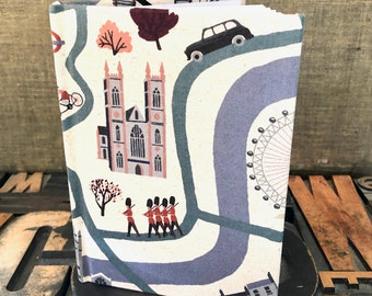 Small Unlined Fabric Covered Journal - London Theme