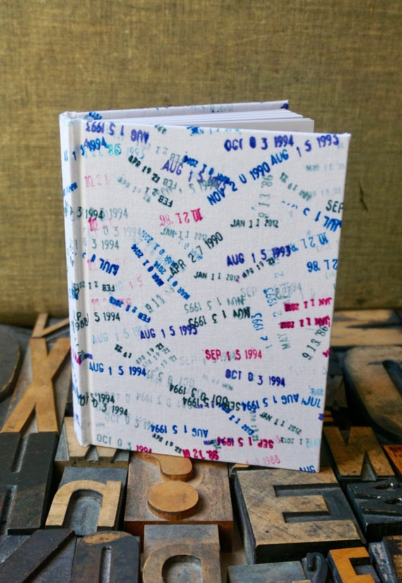 Fabric Covered Journal - Library Date Stamp Pattern - Small Lined