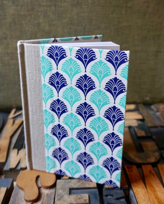 Journal - Small Lined Aqua and Blue Fan Letterpress Paper