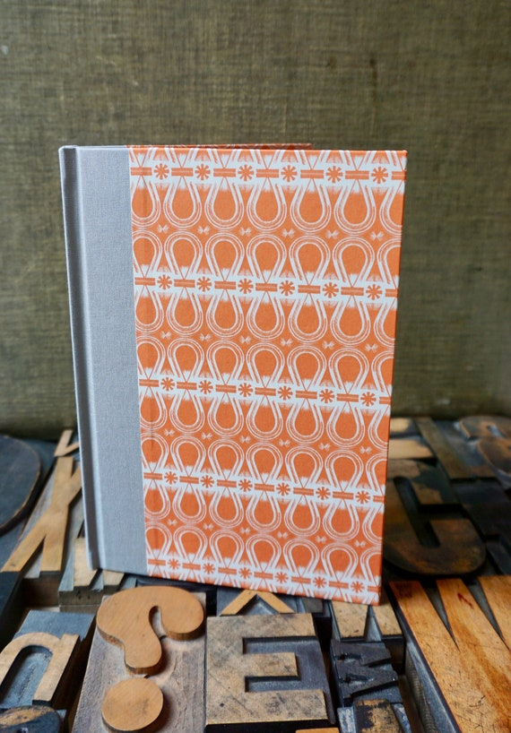 Journal - Large Lined - Orange and White Abstract
