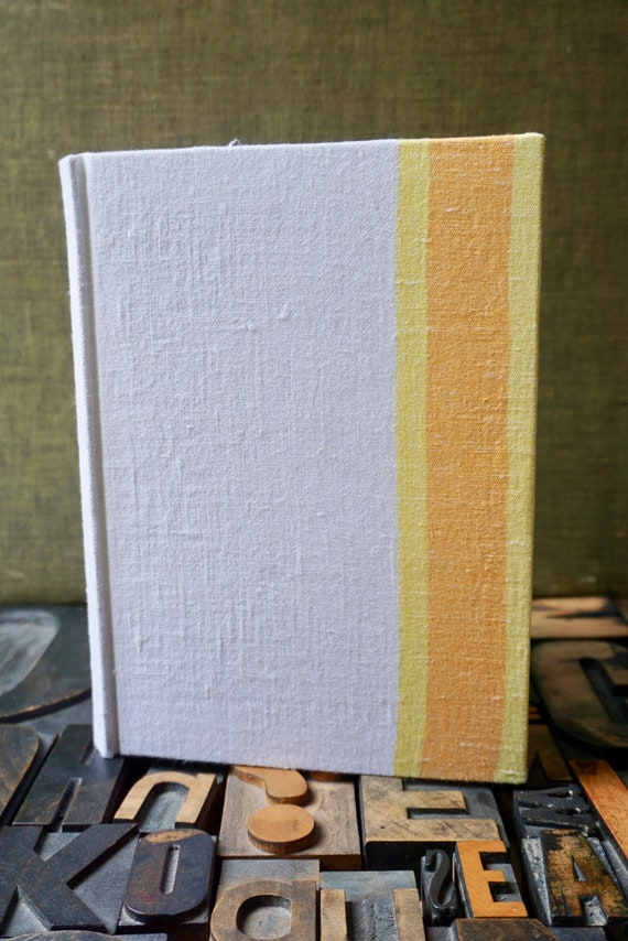 Recipe Book - Vintage Yellow, Orange  and White,  Linen Dishcloth Cover