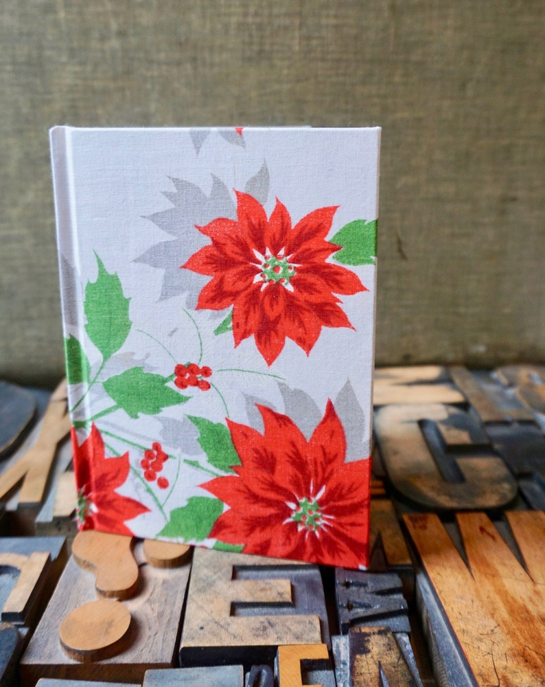 Journal / Small Lined / Poinsettia / Vintage Handkerchief image 0
