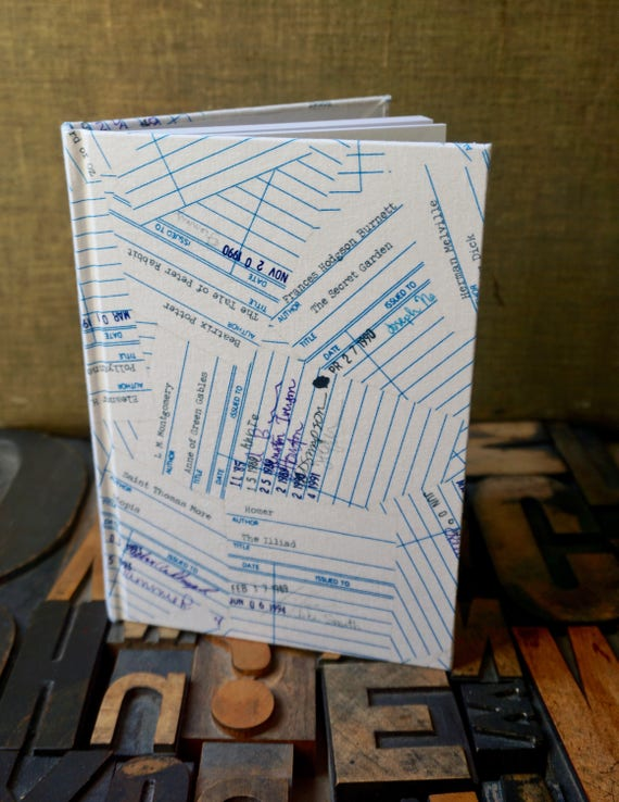 Journal - Large Blank Library Check Out Card Fabric Covered