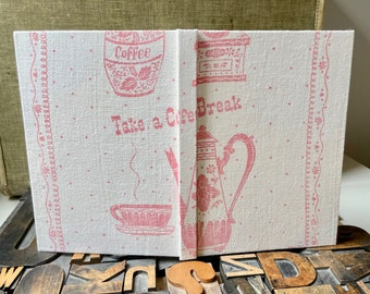 Coffee themed Recipe Journal Made from a  Vintage Tea Towel