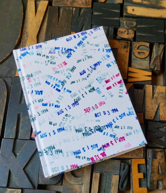 Fabric Covered Journal - Large Blank with Library Date Stamp Theme