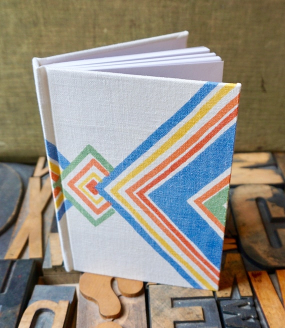 Journal - Small Blank - Diagonal Pattern - Vintage Linen Covered
