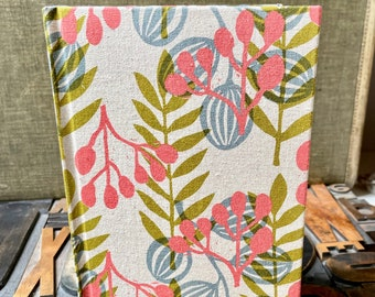 Large  Unlined Fabric Covered Journal - Meadow