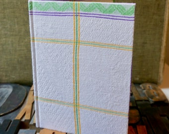 Recipe Journal Made from a 1950s Striped Vintage Linen Tablecloth