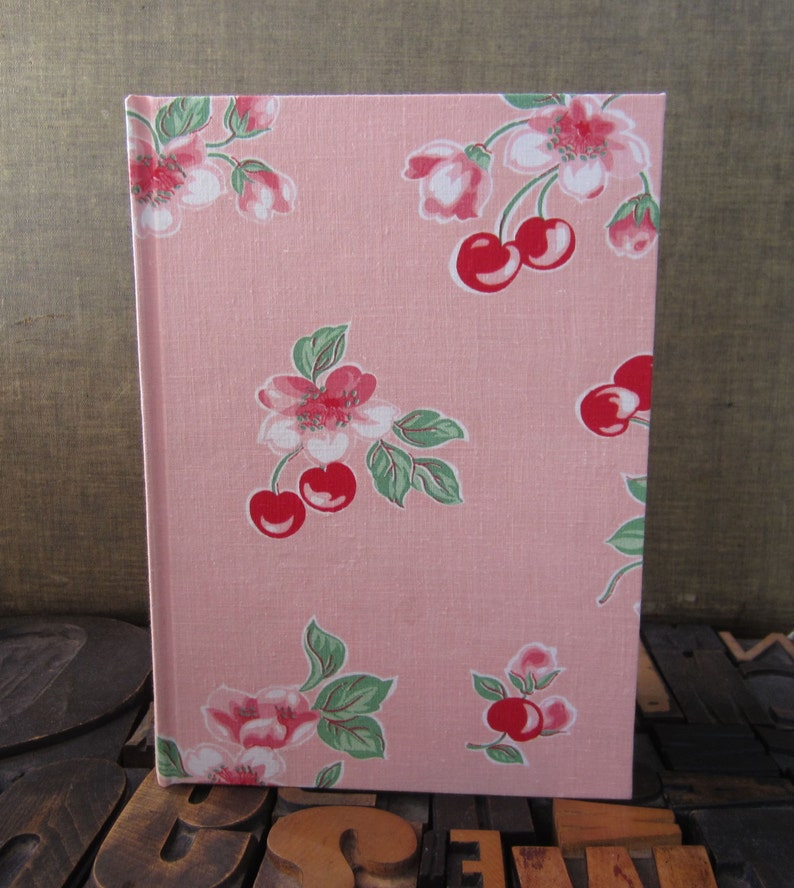 Recipe Journal Made from a 1950s  Vintage Tablecloth with image 0