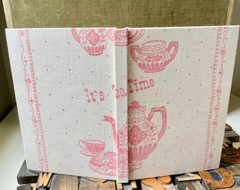 Tea themed Recipe Journal Made from a  Vintage Tea Towel