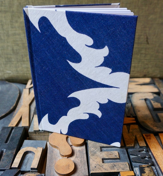 Journal - Small Lined - Blue and White - Handkerchief Covered