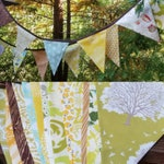 Long Woodland Fabric Bunting Banner 9' Prop Decoration in Brown, Green, Yellow and Aqua. Owls, Woodgrain, Leaves, Trees, Forest Theme Flags