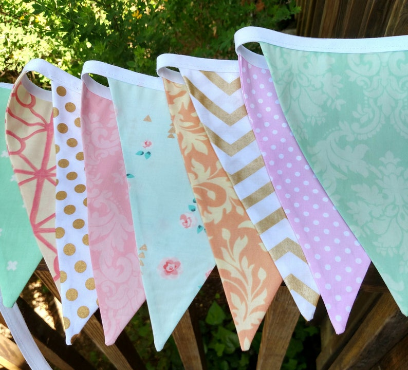13 flags Mint Pink Peach Metallic Gold Fabric Bunting Flag image 0