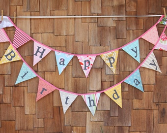 Custom Happy Birthday Flags.  A Unique Party Decoration.  You Receive Two Flag Buntings, Two Sided, More Value...