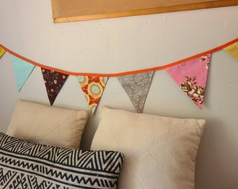 SALE: Summer Banner Decorative Colorful Fabric Bunting Prop Decoration, As Shown. Orange, Pink, Brown and Blues. 7 Flags. Only ONE available