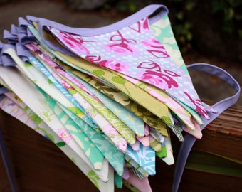 Custom Fabric Flag Bunting. Bridal Shower, Wedding Decoration in Your Chosen Colors.  20 Feet of Flags. Party Banner.