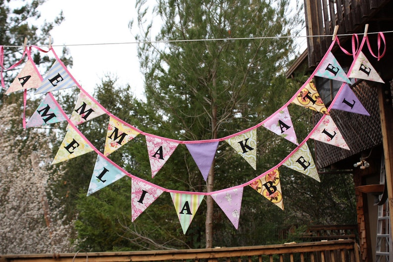Custom Twin Fabric Buntings Personalized Bunting Flag image 0