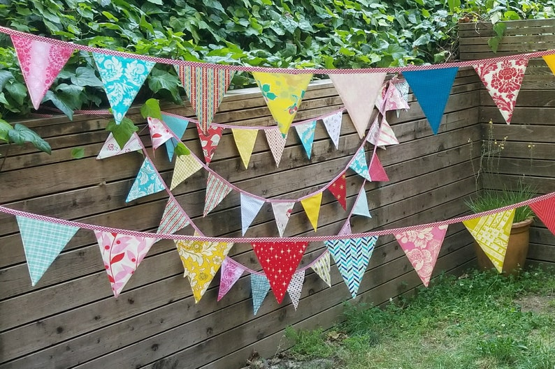 Set of TWO Extra Long Carnival Themed Fabric Bunting Banners image 0