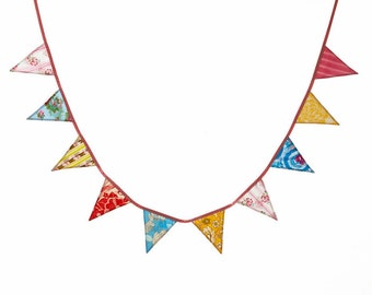 Shabby Chic Bunting, As Shown Medium Fabric Pennant Flags, Red, Yellow, Pink and Blue Party Decor, Photo Prop. Nursery, Birthday, Room Decor