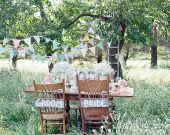 Pastel Vintage Bunting, Flag Banners. Wedding, Birthday, Bedroom Decor.