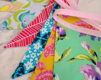 Overstock Sale! As Shown 9 Flags Colorful Fabric Bunting Banner Prop Decoration in Bright Colors, Pink, Gold, Blue, Green.
